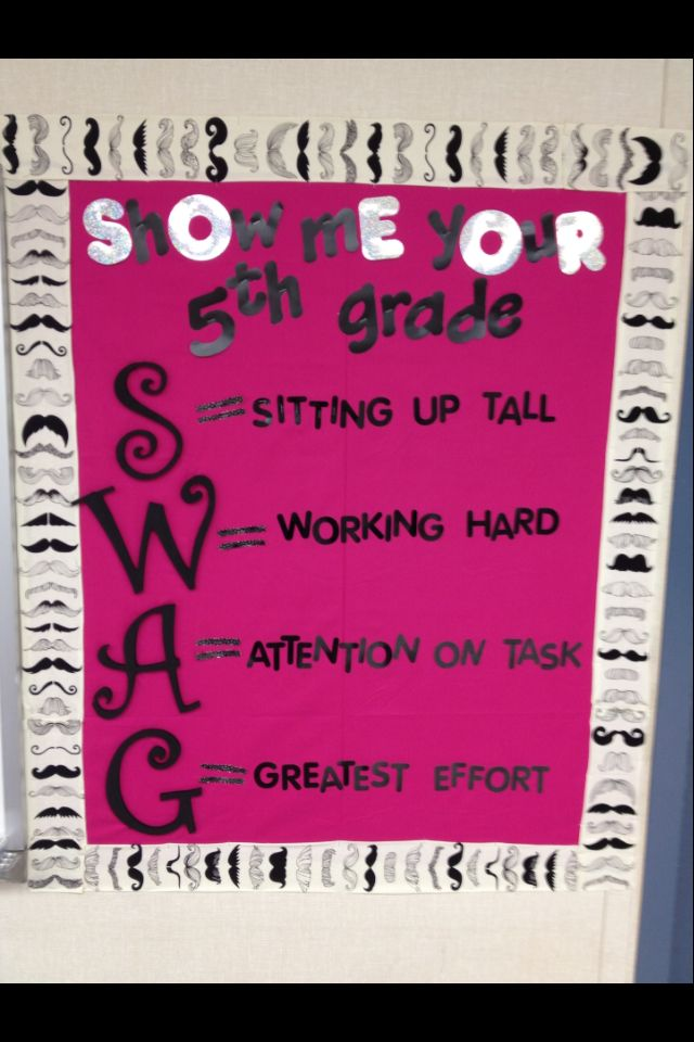 Show me your 5th grade SWAG! With mustache fabric border.