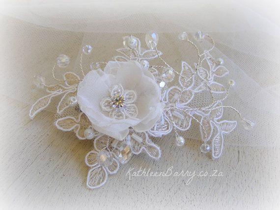Da sposa in pizzo Chantilly R695 fiore forcina per capelli - pezzo di capelli da sposa avorio, bianco o rosa pallido