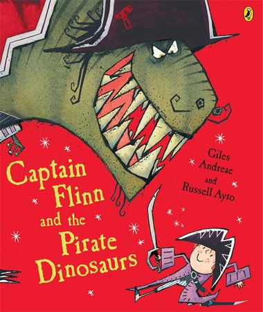 Giles Andreae and Russell Ayto's super-fun Captain Flinn and the Pirate Dinosaurs Flinn is at school looking in the art cupboard for some coloured pens to finish off his dinosaur drawing when he stumbles upon Captain Stubble, a real live Pirate Captain! He tells Flinn that his ship, the Acorn, has been stolen and that he needs Flinn to help him rescue it back. Stubble makes Flinn the captain and they sail away on an old pirate ship…they finally find the Acorn but, to their horror, realise…