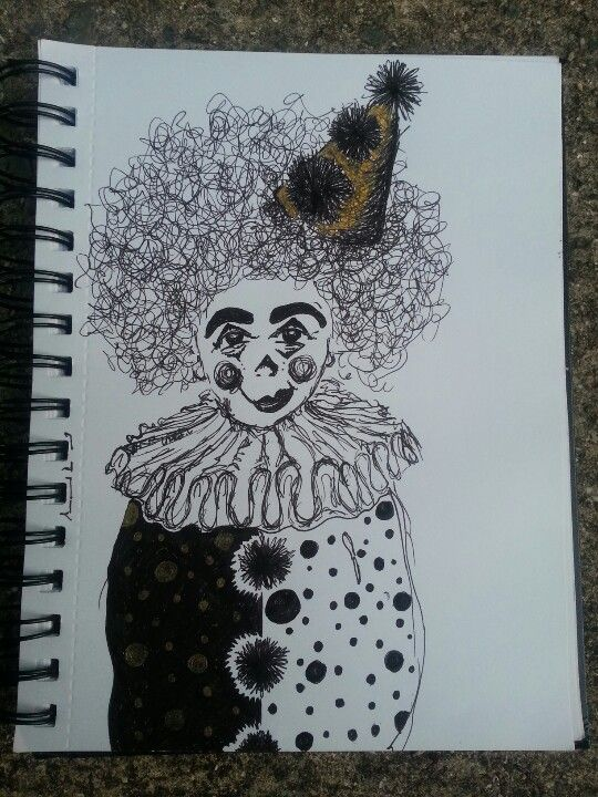 The Lion-tamer. Clown illustration.  Ink.