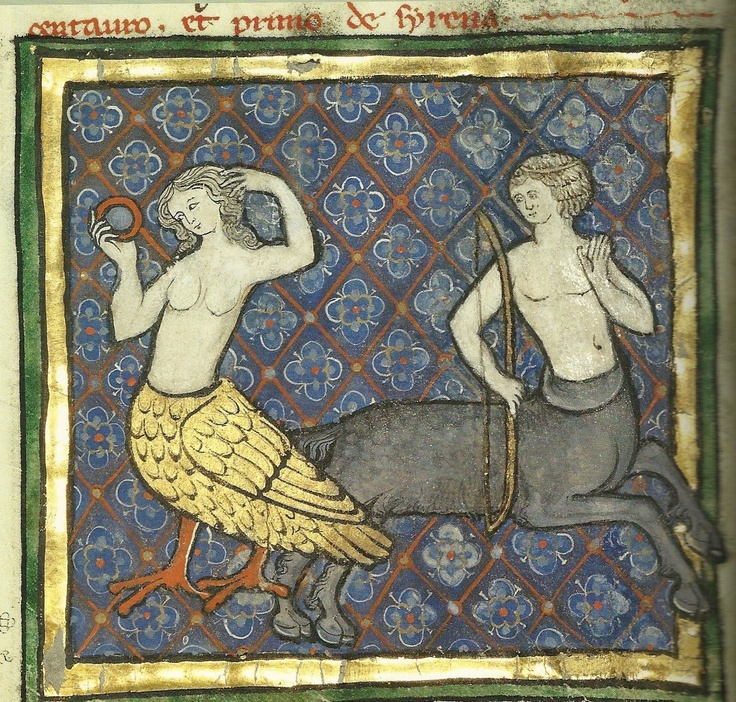"""siren and centaur - Bestiary  Therouanne (?) ca. 1270 """"Umm, hi there. I was just…"""
