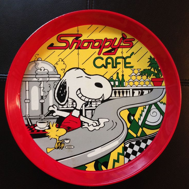 PEANUTS SNOOPY'S CAFE METAL TRAY WOODSTOCK TOO VINTAGE COMIC STRIP CARTOON 1965 #DeterminedProductions