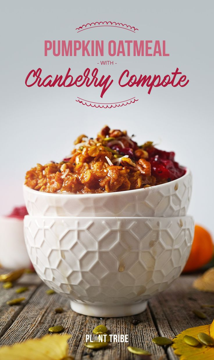 Pumpkin Oatmeal with Cranberry Compote