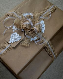 Corner of Plaid and Paisley: Wedding Burlap Gift Wrap