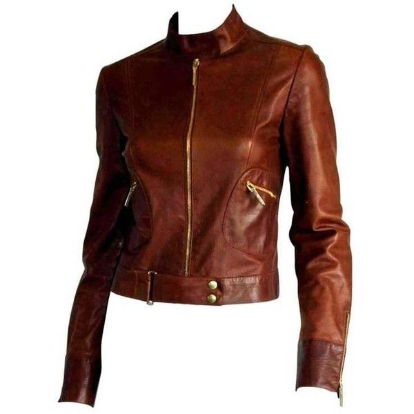 Preowned That Gorgeous Tom Ford Gucci Ss 1999 Tan Brown Leather Runway... ($590) ❤ liked on Polyvore featuring outerwear, jackets, brown, long leather jacket, brown jacket, summer motorcycle jacket, summer leather jacket and biker jackets