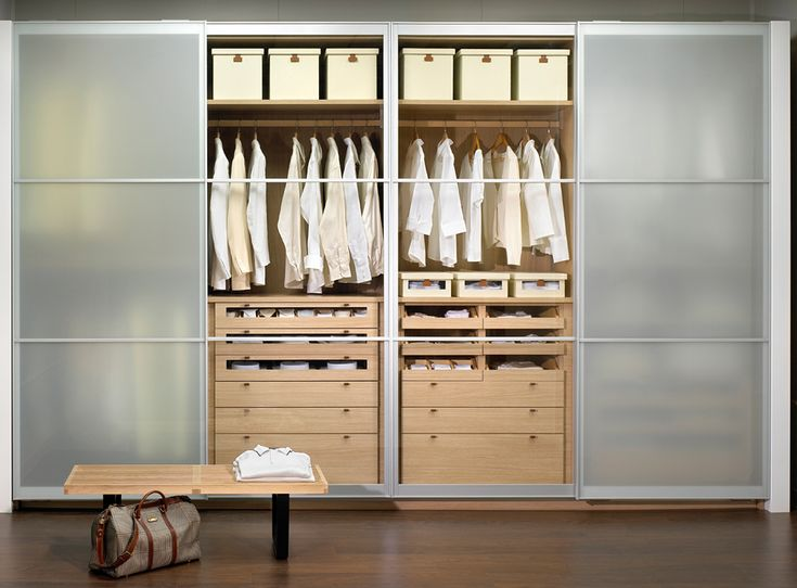 Contemporary wardrobe with sliding doors.