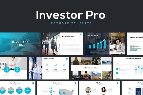 Investor Pro Keynote Template by Rocketo Graphics on @creativemarket