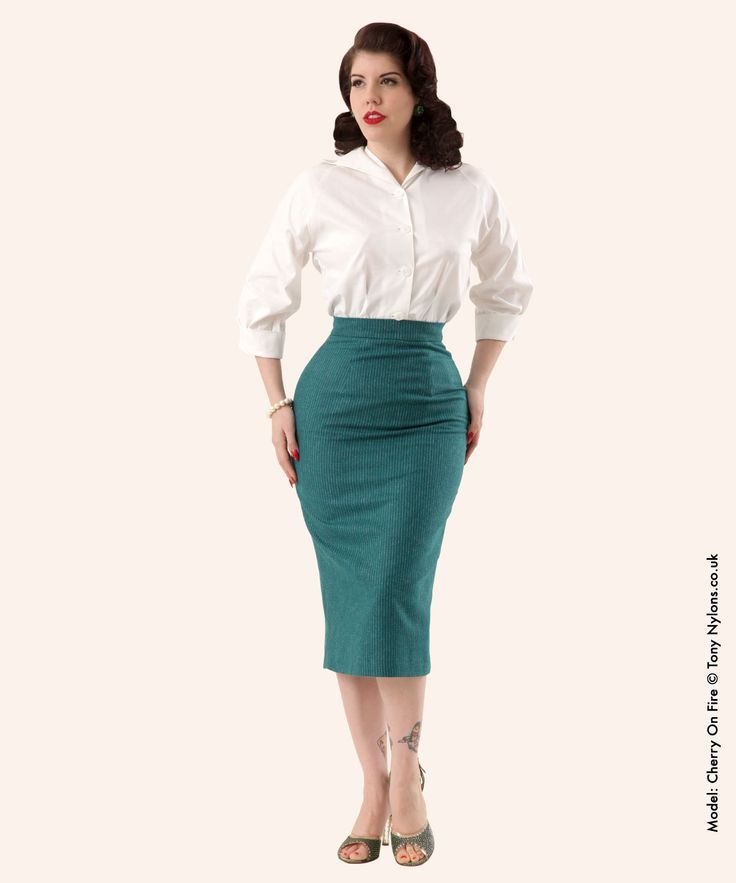 Green Pinstripe Wiggle Skirt White Blouse and Black High Heels | Outfits! | Pinterest | Black ...