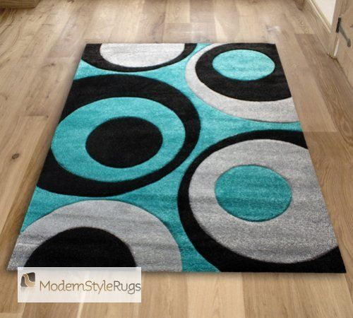 Red And Aqua Blue Rug | And Teal Blue Swirls With Grey   Funky Modern  Designer