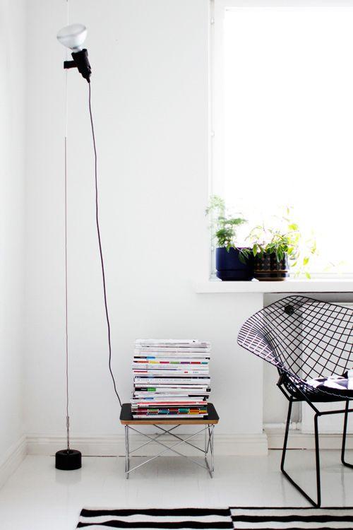Flos Parentesi floor lamp from Plusminus Partners / Vitra's LTR-table / Bertoia's Diamond chair