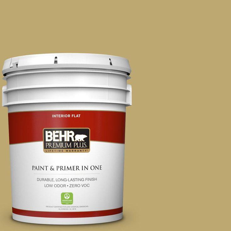 BEHR Premium Plus 5 gal. #370F-5 Coriander Seed Zero VOC Flat Interior Paint
