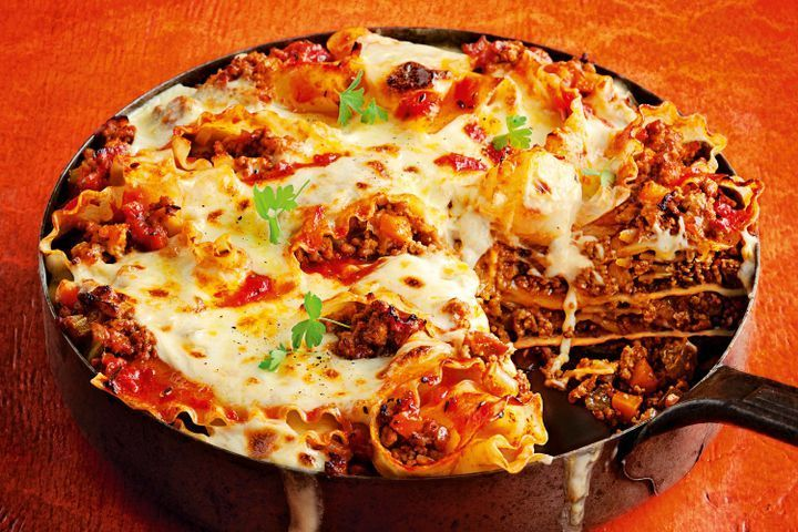 Gooey cheesy fry pan lasagne