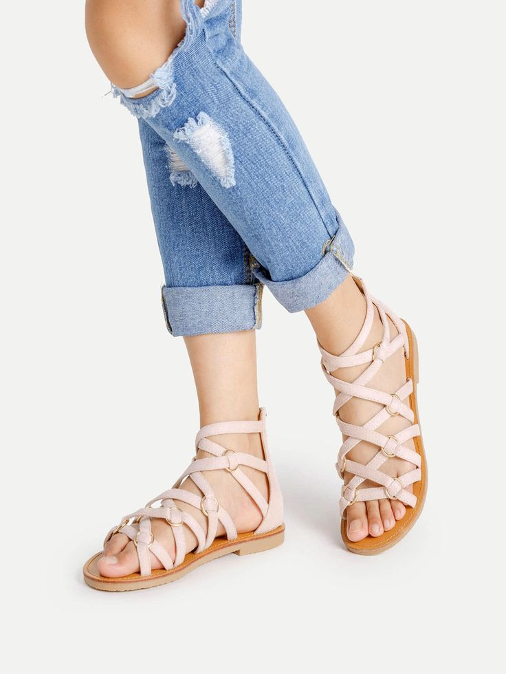 Shop Zipper Back Strappy PU Flat Sandals online. SheIn offers Zipper Back Strappy PU Flat Sandals & more to fit your fashionable needs.