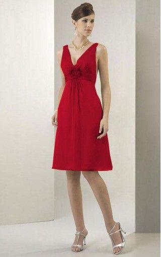 Chiffon V-neck A-line Knee-length Dress - Dressesy.co.uk - 248 - pro - dressey3267