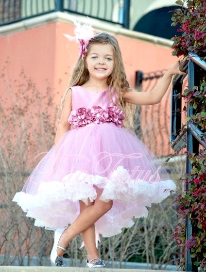Couture mauve pink flower girl / special occasion dress by FabTutus. $149.00, via Etsy. My 3yr old would love this :-)