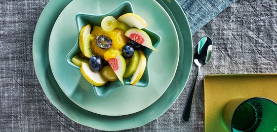Fruit met mangosaus