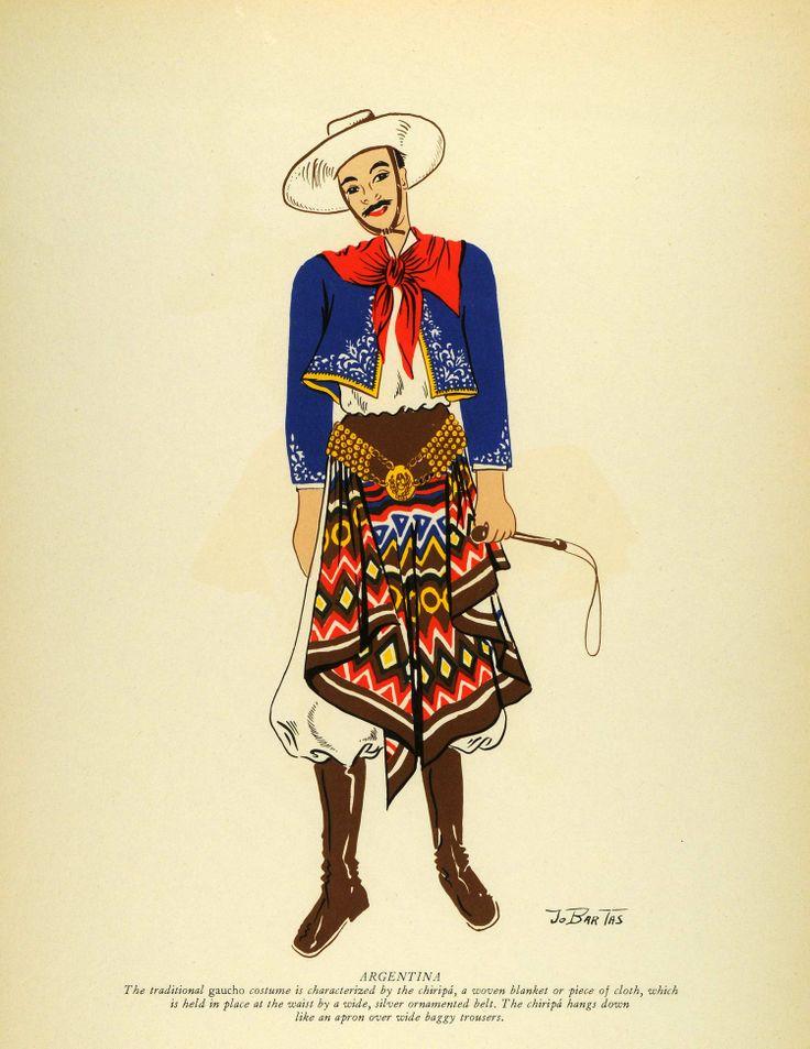 1941 Lithograph Argentina Native Man Gaucho Cowboy Chiripa Cloth ...