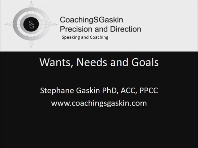 Stephane Gaskin talks about wants and needs and the importance of setting goals. Emphasis is one setting goals that will lead to happiness and well-being. To lead to happiness and well being goals not only be SMART (specific, measurable, attainable, realistic and timed) but it is preferable that others may also benefit from them and that they are harmonious, in that they fit in nicely with the rest of your life. Several related articles and workbook written by Stephane Gaskin are posted on…