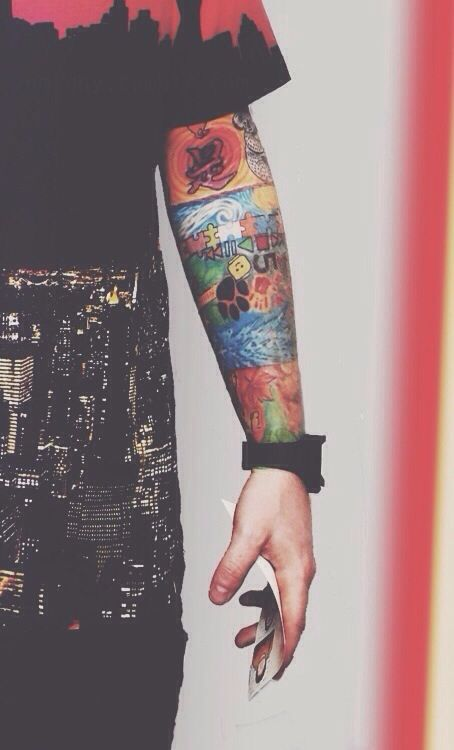 Ed Sheeran's tattoo sleeve! So colourful and hot