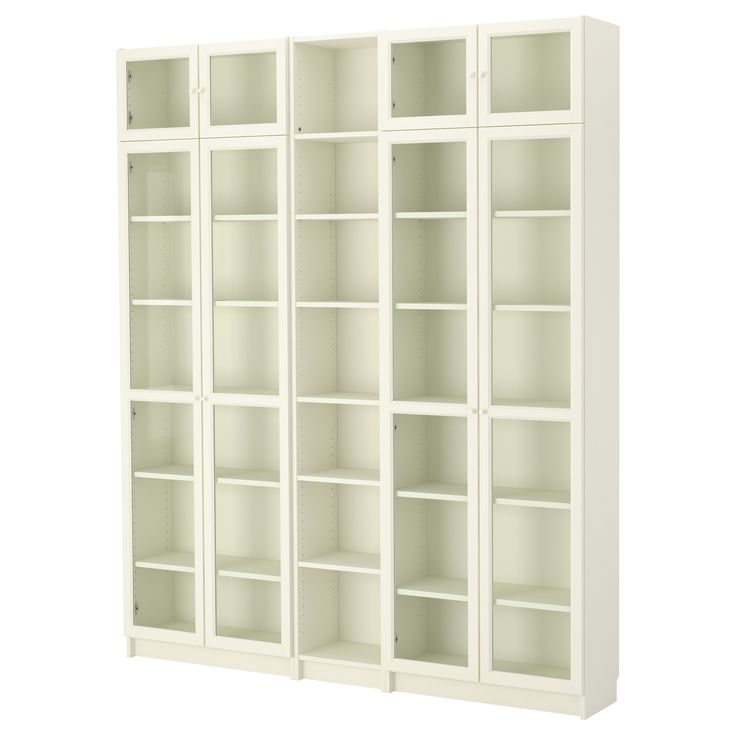 "IKEA - BILLY / OXBERG, Bookcase, white, 78 3/4x93 1/4x11 "", , Adjustable shelves can be arranged according to your needs.Adjustable hinges allow you to adjust the door horizontally and vertically.Glass-door cabinet keeps your favorite items free from dust but still visible.Narrow shelves help you use small wall spaces effectively by accommodating small items in a minimum of space."