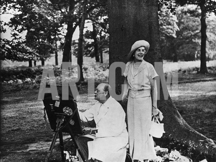 Winston Churchill and His Wife Relaxing Outdoors at their Home Chartwell Premium Photographic Print at Art.com