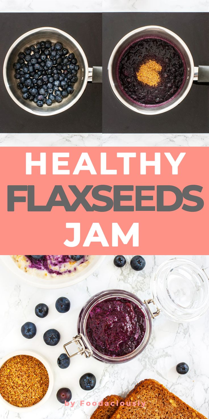 Sugar Free Blueberry Jam with Flaxseeds