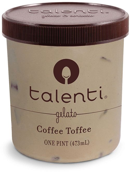 Talenti Coffee Toffee | This time, we filled our coffee gelato with pieces of soft almond toffee covered in chocolaty goodness. It's coffee you can have at night, and you don't even have to be a grad student or aspiring novelist.