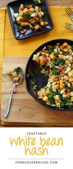 """Vegetable White Bean Hash.  """"If you look back through recorded history, all successful large populations of people lived on starch-based diets.""""—John McDougall MD."""