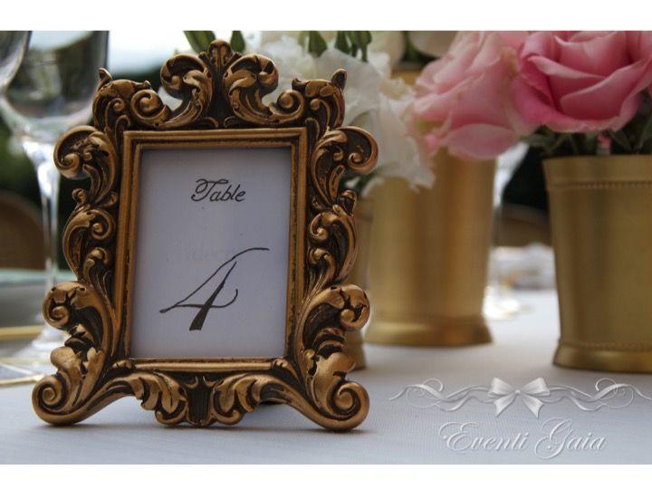 Gold & Pink Wedding Gold frame for table number
