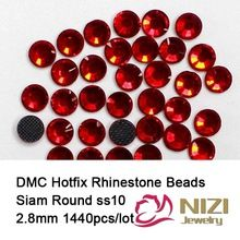 Блестящий 1440 шт. ss10 Сиам DMC Hotfix Плоской Задней Кристалл Nail Art Стразы Клей Камни Стекла Камни Украшения(China (Mainland))