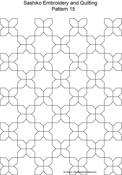 Free Sashiko Patterns Set 2 - Patterns for Sashiko Embroidery and Quilting Designs 9 through 16