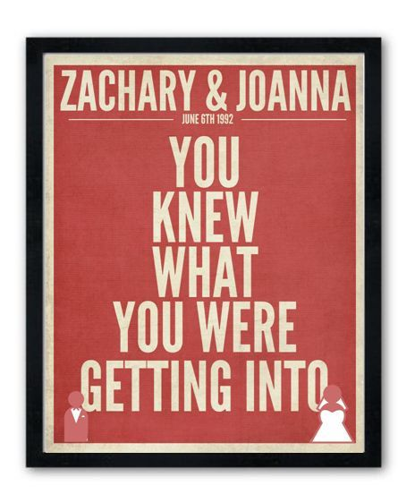 20th Wedding Anniversary Gift Ideas For Husband: Personalized Wedding Or Anniversary Poster Gift