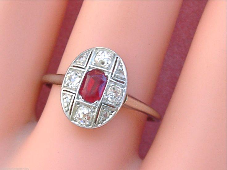 Antigo Art Deco 4 CTW Antigo Mina Diamante 5 Ct Rubi Oval Pequena Syn Anel 1930 SZ9 | eBay