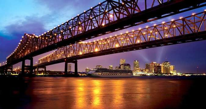 Hilton New Orleans Riverside Hotel, La - Mighty Mississippi River At Night