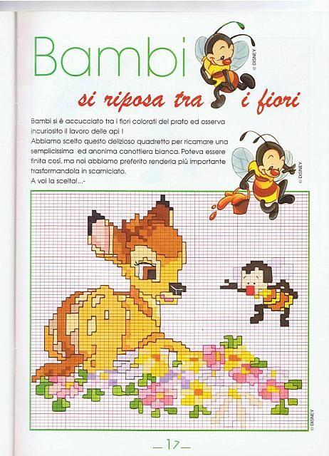 Bambi seduto su fiori punto croce for Schemi gratis punto croce disney