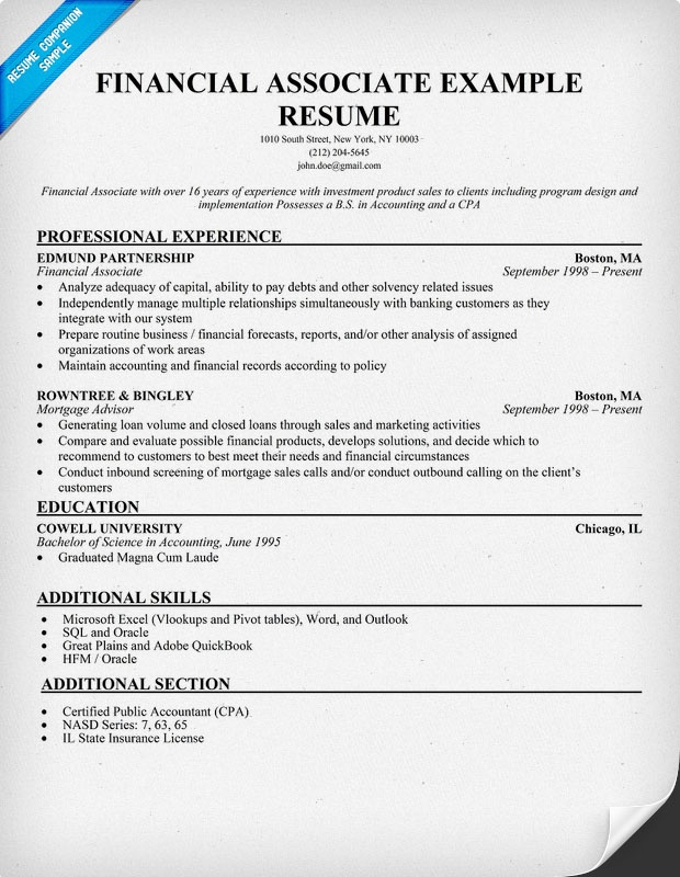 financial associate resume