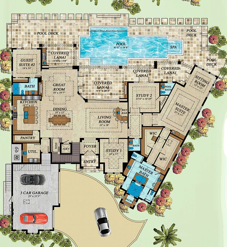 Coastal Florida Mediterranean House Plan 71543
