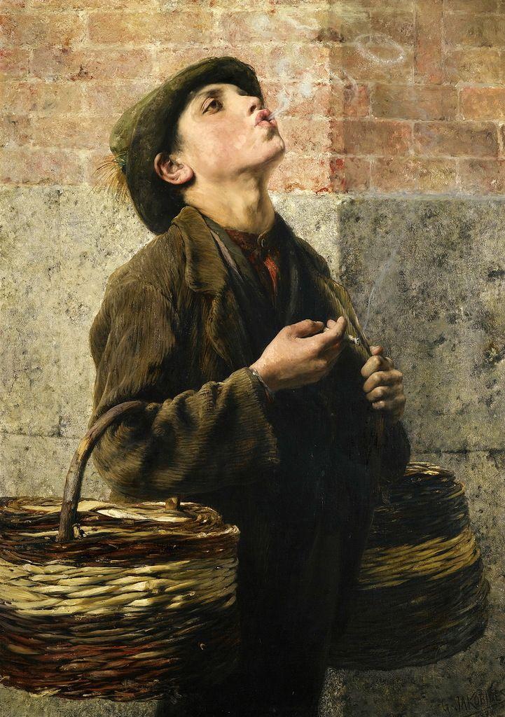 Georgios Jakobides (GREEK, 1852-1932) - SMOKE RINGS (THE LITTLE STRUGGLER)