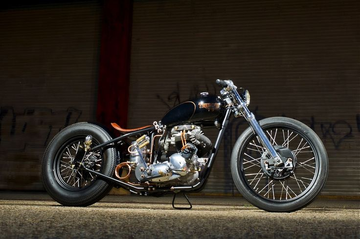 triumph bobber with copper tubing for oil cooler | motorcycles