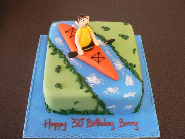 Kayak Themed Birthday Cake for dad's 70th.