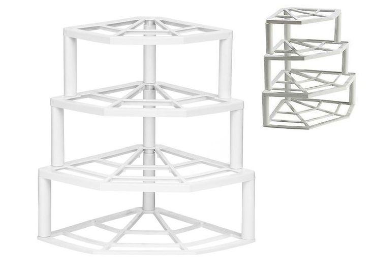 4 TIER CORNER PLATE STAND STACKER HOLDER STORAGE RACK CUPBOARD WHITE PLASTIC  | eBay