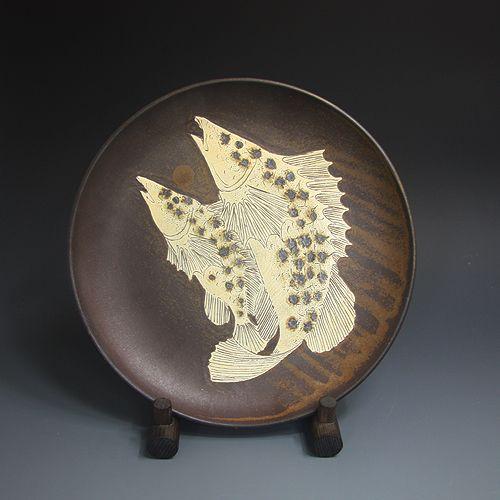 이라보 어문발 利羅保 魚紋鉢 (Irabo plate- grayish-blue Celadon -Fish design)