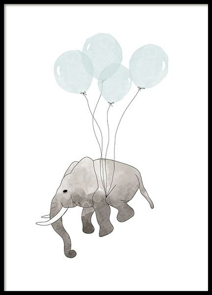 Poster mit kleinem Elefanten, der mithilfe blauer Luftballons fliegen kann. Unglaublich süßes Poster mit einer Illustration, die perfekt in das Kinderzimmer passt. Weitere ähnliche Poster für das Kinderzimmer finden Sie in unserer Kategorie für Kinder & Jugendliche. Dieses Poster ist auch in Rosa erhältlich. www.desenio.de