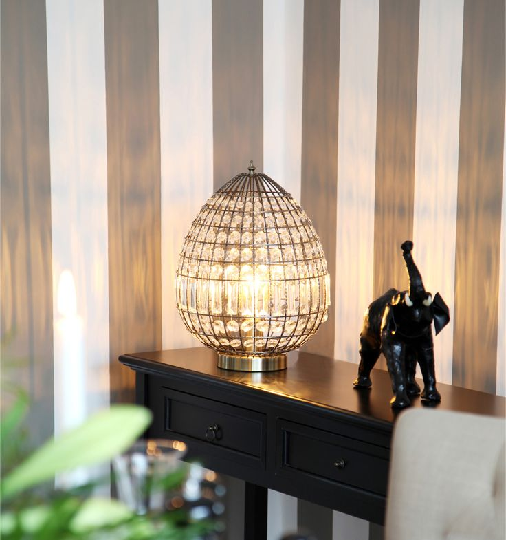 Antique brass metal table lamp with glass prisms Amadus by Sessak
