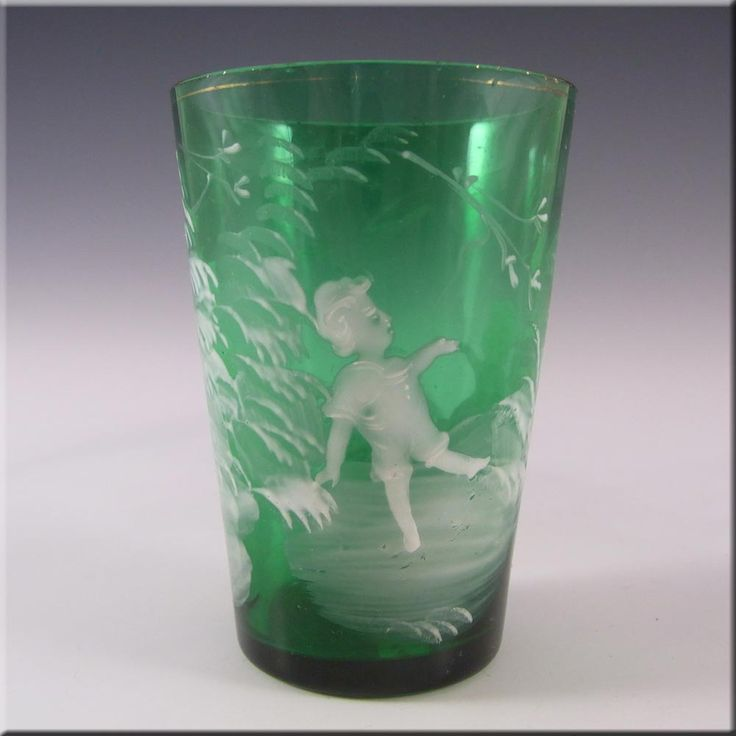 Mary Gregory Bohemian Hand Enamelled Green Glass Tumbler #1 - £30.00