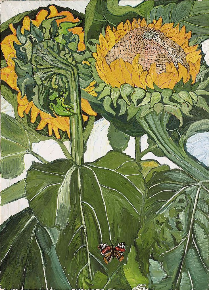The Wind-Blown Leaning Sunflower, John Bratby. English (1928 - 1992)