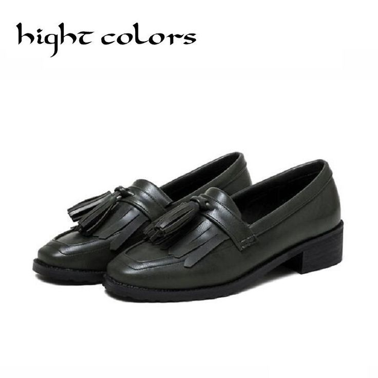 Spring thick heel square toe british style oxford shoes for women leather brogues women Tassels loafers fringe flats shoes woman