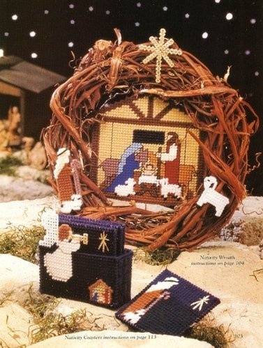 X00 Plastic Canvas Pattern Only Blessed Nativity Coaster Wreath Card Box Tissue (love the wreath idea - maybe interchangeable?)