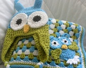 Owl Be Your Friend - Blue and Chartreuse Owl Hat with Earflap and Matching Baby Blanket/Afghan with Crocheted Owl Appllique - Ready to Ship