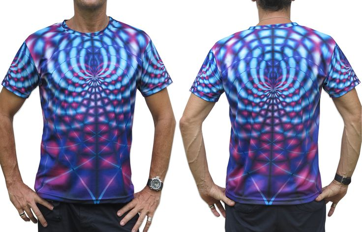 """Sublime S/S T : Violet Web Fully printed short sleeve T shirt. This shirt is an """"All Over"""" printed T shirt that will really grab people's attention. The design is printed using sublimation printing on a high quality polyester / Dri-Fit blended shirt. This allows for extremely vibrant colors that will never fade away no matter how many times it gets washed, & results in an extremely soft """"feel"""" to the shirt, providing ultimate comfort. Artwork by Space Tribe"""